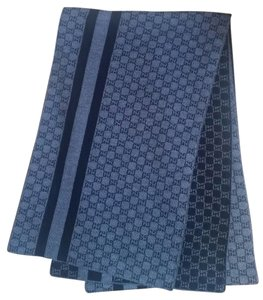 Gucci *New with Tags* Navy Blue Wool Web Stripe GG Reversible Scarf