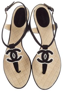 Chanel Interlocking Cc Embellished Ankle Strap Silver Hardware Pearl Black, White Sandals