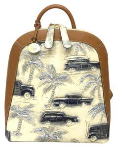 Brahmin 57 Chevy Palm Tree Woody Wagon Surf Copo Cabana Blue Beach Backpack