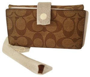 Coach New! Signature Coated Phone Wristlet