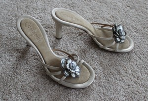 Chanel Interlocking Cc Embellished Hardware Pearl Camellia Silver, Ivory, White Sandals