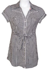 Guess short dress Black & White Western Rockabilly Plaid Gingham Tie Belt on Tradesy