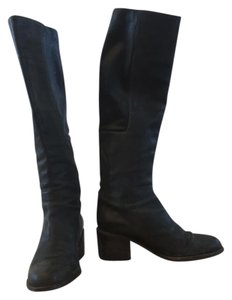 LD Tuttle Knee-high Leather Waxed Suede Made In Italy Padded Black Boots