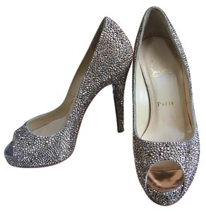 Christian Louboutin Crystal Peep Toe Chic Embellished Champagne Pumps