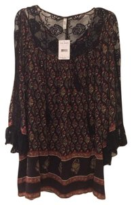 Free People short dress black, gold, red, army green on Tradesy