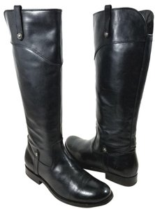Frye Leather Riding Side Zip Vintage Leather Tabs Accented Black Boots