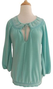 Calypso St. Barth Smocked Cashmere Slash Neck Boho 3/4 Sleeve Sweater