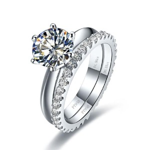 Diamond Set Nscd Sona Lab 2ct Solitaire Engagement Ring