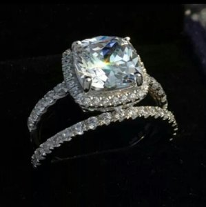 All Sizes 4.5 5 6 7 8 In Stock Diamond Ring Cushion Pt950 Set Wedding