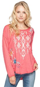 Johnny Was Embroidered Longsleeve Tunic Geometric Floral T Shirt pink