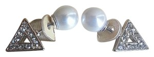 New York Jeweler DEPARTMENT STORE EARRINGS. 'DIAMOND' AND 'PEARL'. Color: Silver.