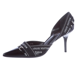 Louis Vuitton Lv Monogram Logo Pointed Toe Patent Leather Black, White Pumps