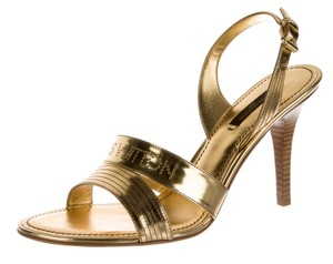 Louis Vuitton Lv Monogram Hardware Perforated Metallic Gold Sandals