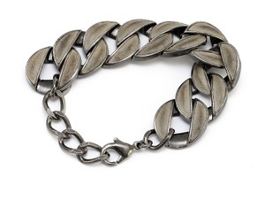 Chanel Chanel 12P Chunky Chain Link Bracelet Dark Silver Pewter Leather