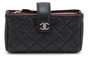 Chanel Chanel 12C Black Quilted Lambskin Leather MINI O-CASE Wallet Clutch