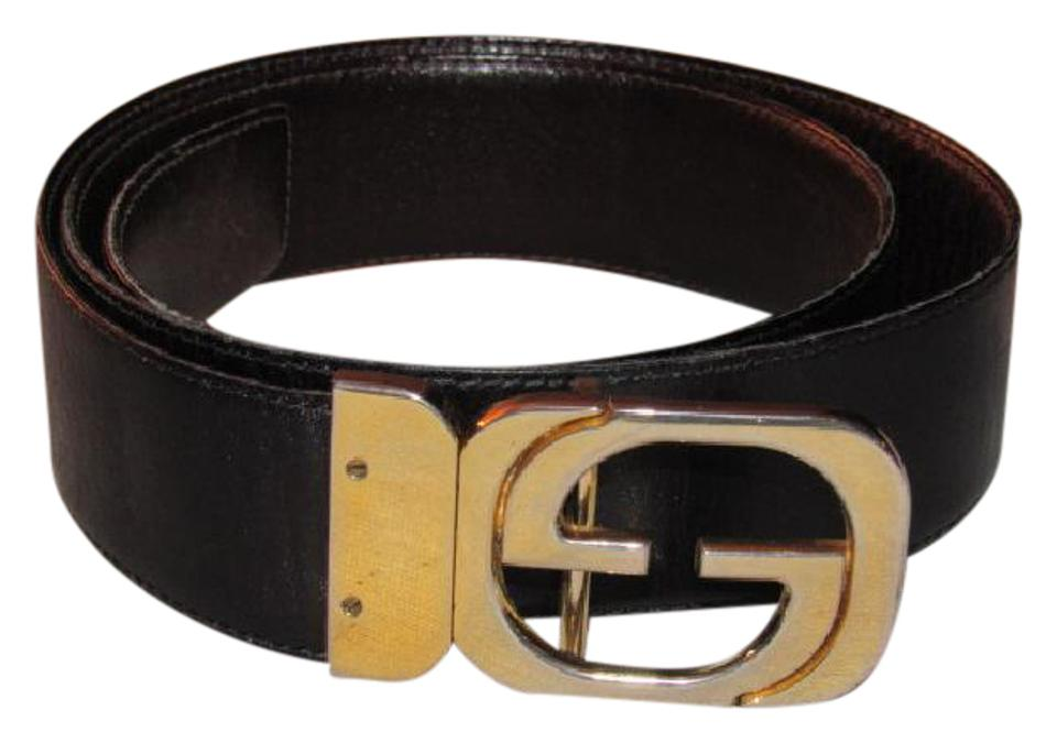 c9cf1de36 Gucci Brown Leather with Gold Gg Logo Buckle Vintage Belt/Designer ...