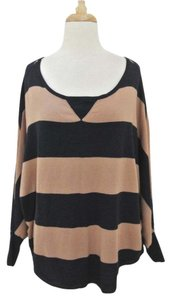 Joie Striped Dolman Scoop Neck Rugby Cashmere Sweater