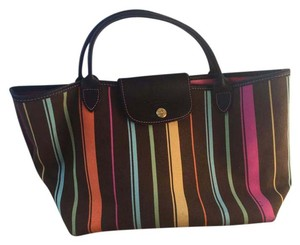 Longchamp Tote in brown & pink multicolor