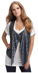Joie Sequin Open Draped Vest Dressy Top gunmetal