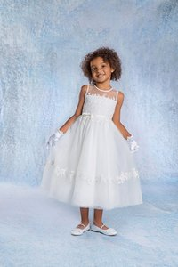 Ivory Embroidered Lace Applique Flower Girl Wedding Dress Style 6683 Dress