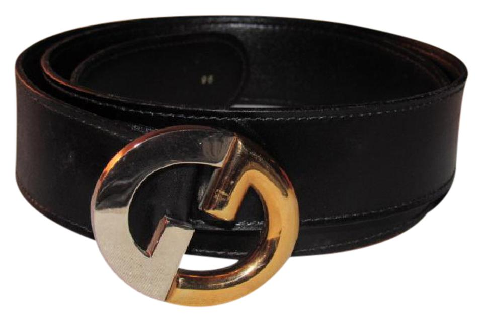 604fb3c4593 Gucci Black Leather with Two Tone Chrome   Gold Gg Logo Buckle ...