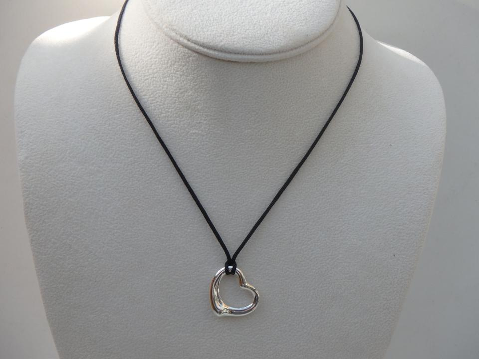 Tiffany co silver and black elsa peretti 22mm open heart w silk tiffany co silver and black elsa peretti 22mm open heart w silk cord necklace tradesy aloadofball
