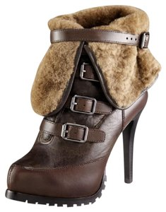 Ash Leather Shearling Dark Brown Boots