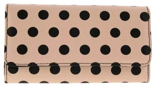 Kenneth Cole Womens Pink Faux Leather Polka Dot Clutch Wallet