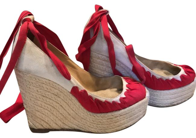 Item - Tan and Red Espadrilles Wedges Size US 6 Wide (C, D)