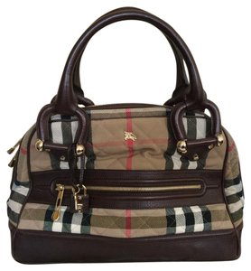 Burberry Quilted Manor Check Satchel in Tan & Dark Brown