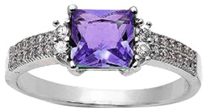 9.2.5 Stunning antique style square amethyst and white sapphire ring size 7