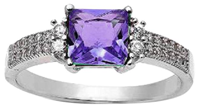 Item - Purple Stunning Antique Style Square Amethyst and White Sapphire Size 7 Ring