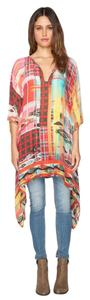 Johnny Was 3/4 Sleeve Keyhole Tie Waist Geometric Tunic