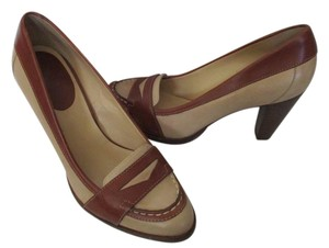 Cole Haan Loafer Leather Cream Camel Stacked Heel Pumps