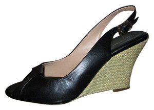 Banana Republic Leather Open Toe Sling Wedge Mbsr black Pumps