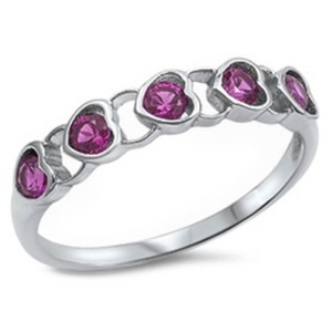 9.2.5 Unique pink ruby heart band ring size 6