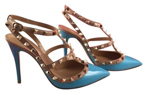 Valentino Rockstud Studded Stiletto Patent Caged blue Pumps