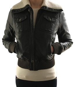 Xhilaration Brown faux leather. Cream shearling collar. Leather Jacket