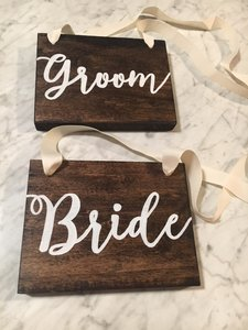Rustic Bride And Groom Chair Sign Set