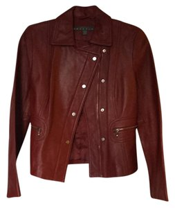 Kenneth Cole Reaction Brick Red Leather Jacket