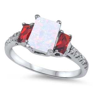 9.2.5 Stunning opal and ruby square silver ring size 8