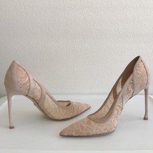 Dior Formal Wedding Lace Suede Pointed Toe Nude Pumps