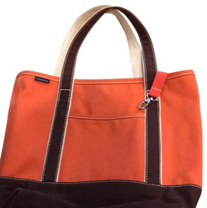 Lands' End Tote in Orange/Brown