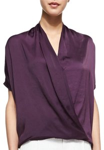 Vince Silk Wrap Satin Top Deep Purple