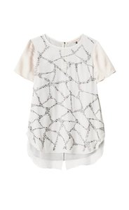 Rebecca Taylor Studded Silk Embellished Tee T Shirt Call Lily (Off-white + heather grey back)