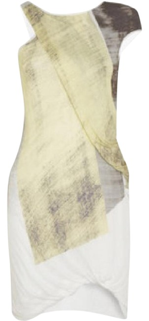 Item - White with Yellow Black and Grey Asymmetric Short Casual Dress Size 8 (M)