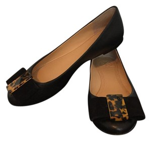 Tory Burch Tortoise Shell Leather Classic Black Flats