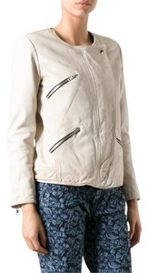 Étoile Isabel Marant Leather Kady Burgundy Quilted Beige Leather Jacket