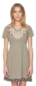 Johnny Was short dress army green V-neck Cotton Embroidered Short Sleeve on Tradesy