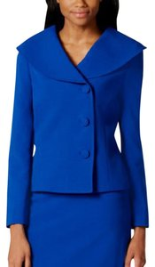 Tahari Tahari ASL Womens Blue Crepe 2PC Lined Skirt Suit Plus 20W